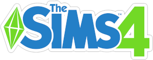 The Sims lettering color blue