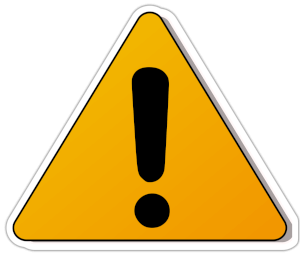 Warning sign yellow triangle black edges, and exclamation mark