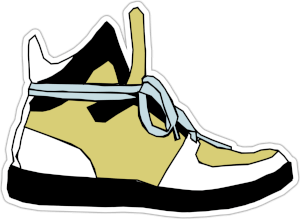Cartoon shoe Logo yellow and black